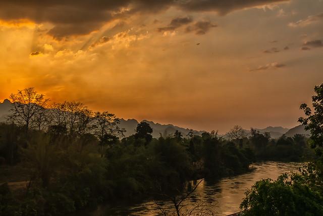 Sunset over Quai river