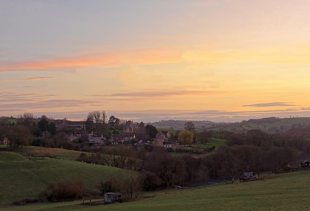 Pastel spring sunset over the Bath countryside