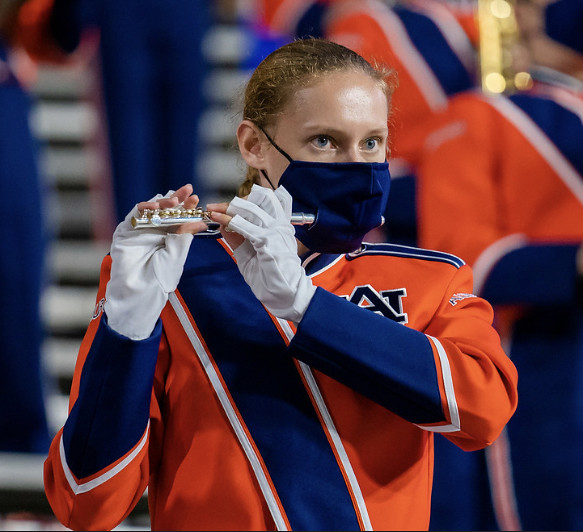 Kylie Weis plays a flute in the Marching Band.