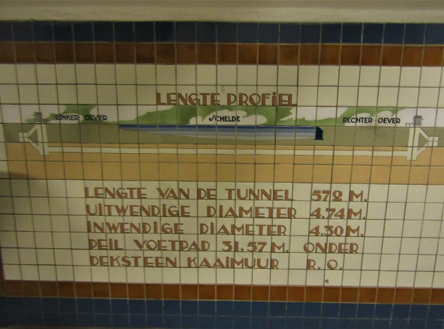 information on the tiles of the Sint Anna Tunnel in Antwerp