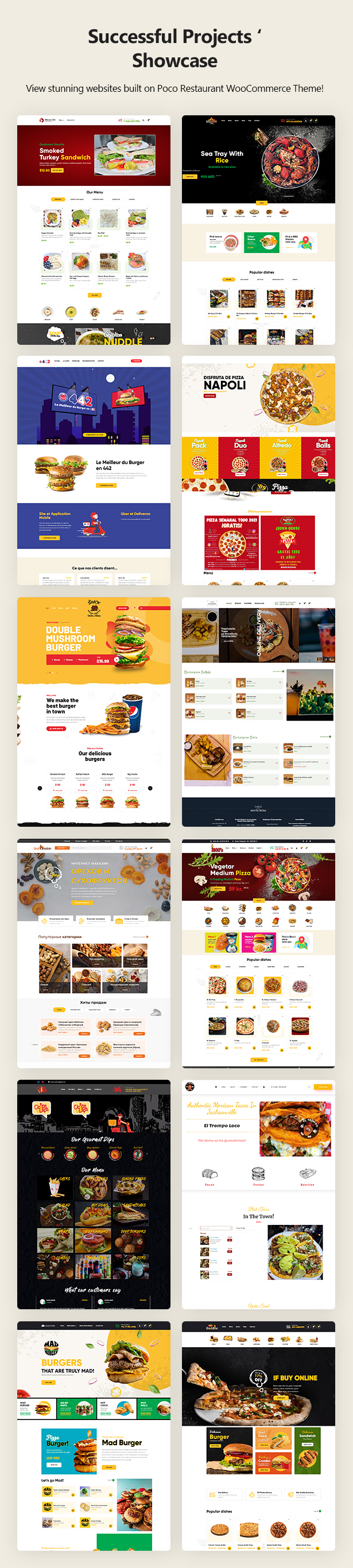 Poco – Fast Food Restaurant WordPress Theme Customer Websites
