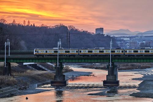 sunset nature goldenhour train river city bridge landscape 日暮れ 自然 電車 川 都会 橋 風景 tamariver koremasa inagi tokyo japan 多摩川 是政 稲城市 東京