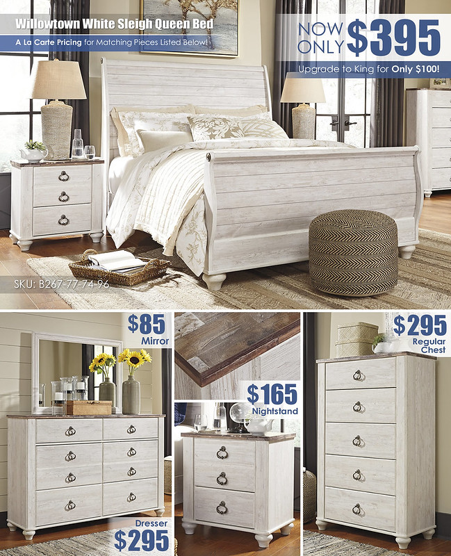 Willowtown White Queen Sleigh Bed Special_Layout_B267
