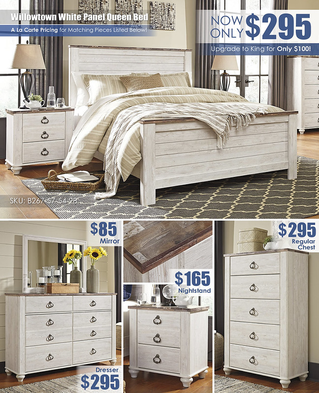 Willowtown White Queen Panel Bed Special_Layout_B267