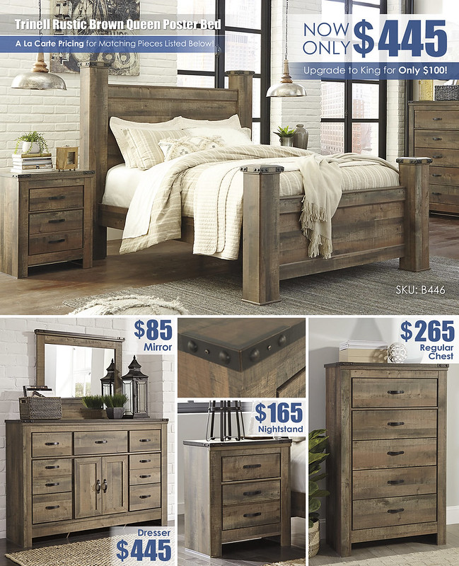 Trinell Rustic Brown Queen Poster Bed_B446_Layout_2021