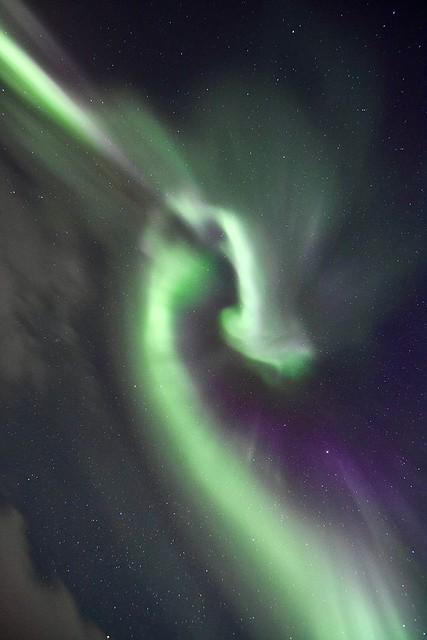 Aurora boreal (corona) en Laponia Sueca