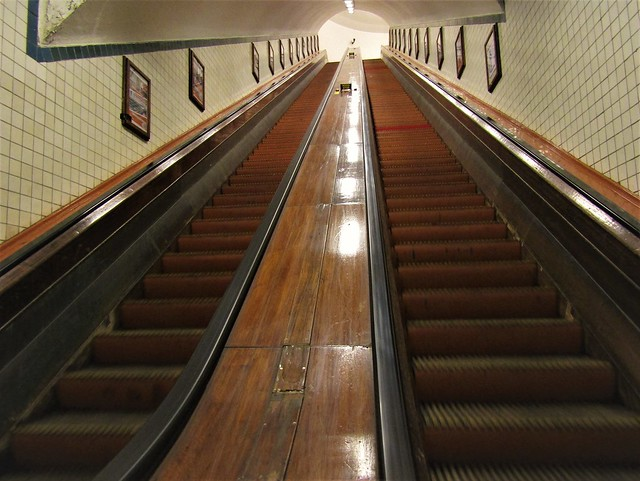 wooden escalators of the Sint Anna Tunnel in Antwerp