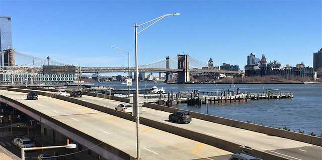 Looking Over the FDR Drive Towards the Brooklyn Bridge