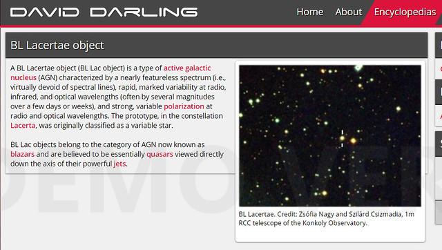 VCSE - A BL Lacertae kinézete (két vonal közti objektum) a Konkoly Obszervatórium 1 méteres RCC-távcsövével készült képén, amit illusztrálásra is hazsnálnak. Fotó