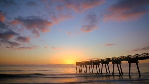 beach dawn jetty pier sunrise surf verobeach waves