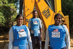 51-A mechanical clearance team in Sri Lanka takes a break from work on the Mulhamalai Minefield. The HALO Trust