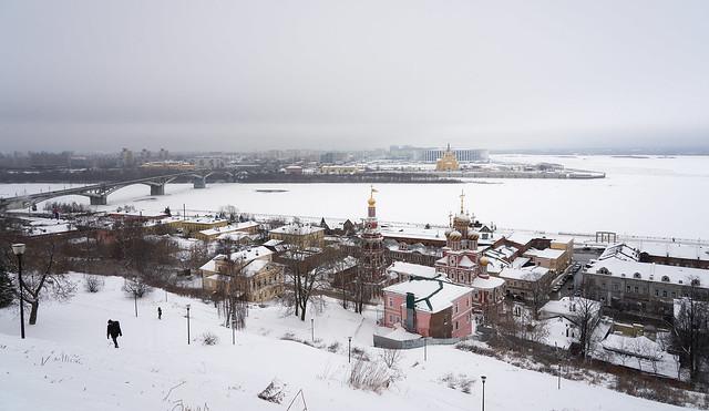 Nizhny Novgorod. View of the confluence of the Volga and Oka Rivers.