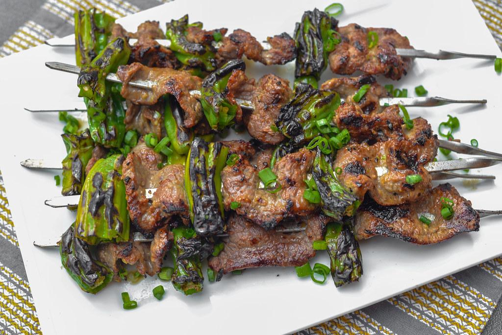 Miso-marinated Beef and Shishito Skewers