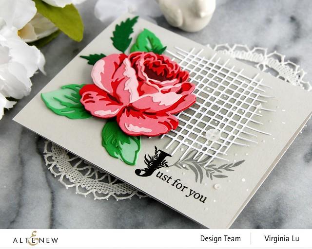 Altenew-CAF Antique Rose-Gradiant Card Stock (Red Cosmos)-Storybook Stamp-Burlap Texture Die-001