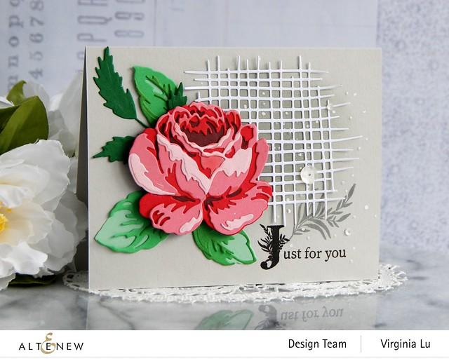 Altenew-CAF Antique Rose-Gradiant Card Stock (Red Cosmos)-Storybook Stamp-Burlap Texture Die