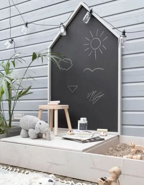 House-Shaped Chalkboard & Sandbox