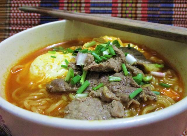 Koreno Korean beef noodles, served