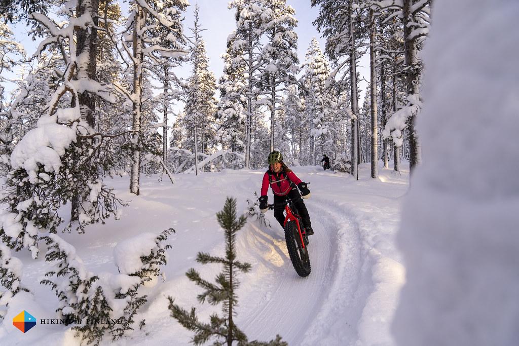 Shredding in the Kiilopää Snow Bike Park