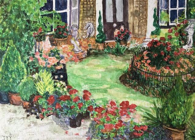 Aquarelle: flower garden