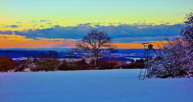 Germany, ein kalter Januartag, abends  im Strohgäu, 60100/13486
