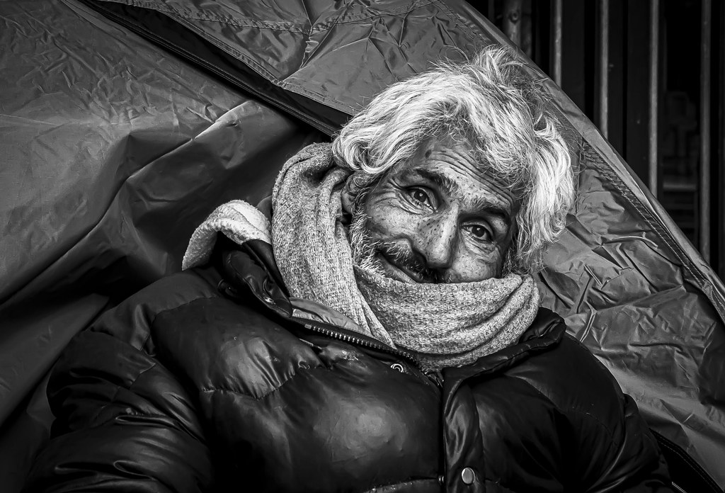 Very friendly and photogenic homeless person in Brussels