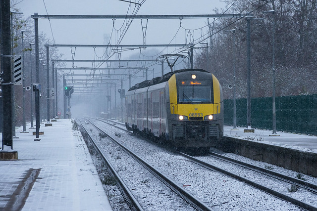 A train in a snow shower.