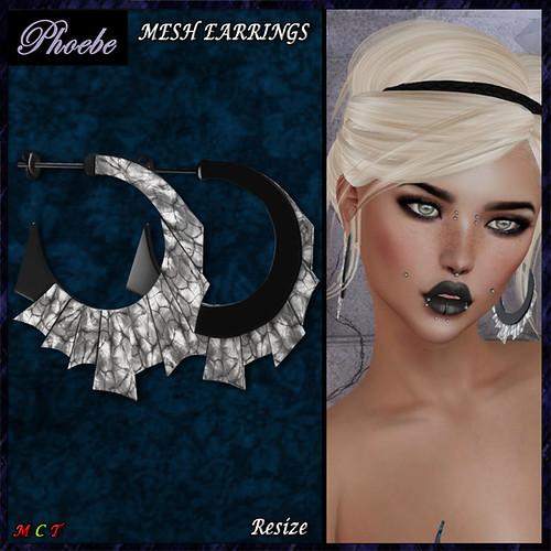 NEW GIFT! *P* Suzie MESH Earrings ~Black-Gemstone~ v2