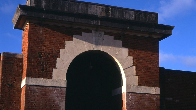 Photograph of the entrance to a British prison