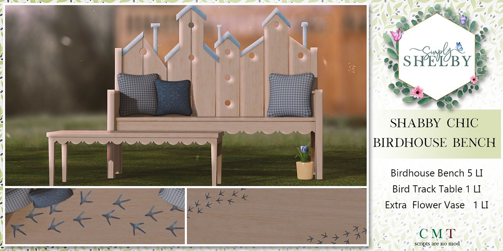 Simply Shelby BirdHouse Bench Set