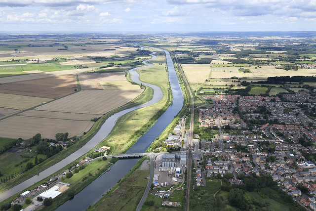 Downham Market aerial image - beside the river Great Ouse in Norfolk UK