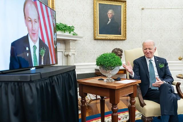 President Joe Biden meets virtually with Ireland Prime Minister Micheál Martin on St. Patrick's Day