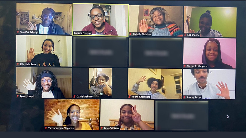 Screenshot of students on a video call