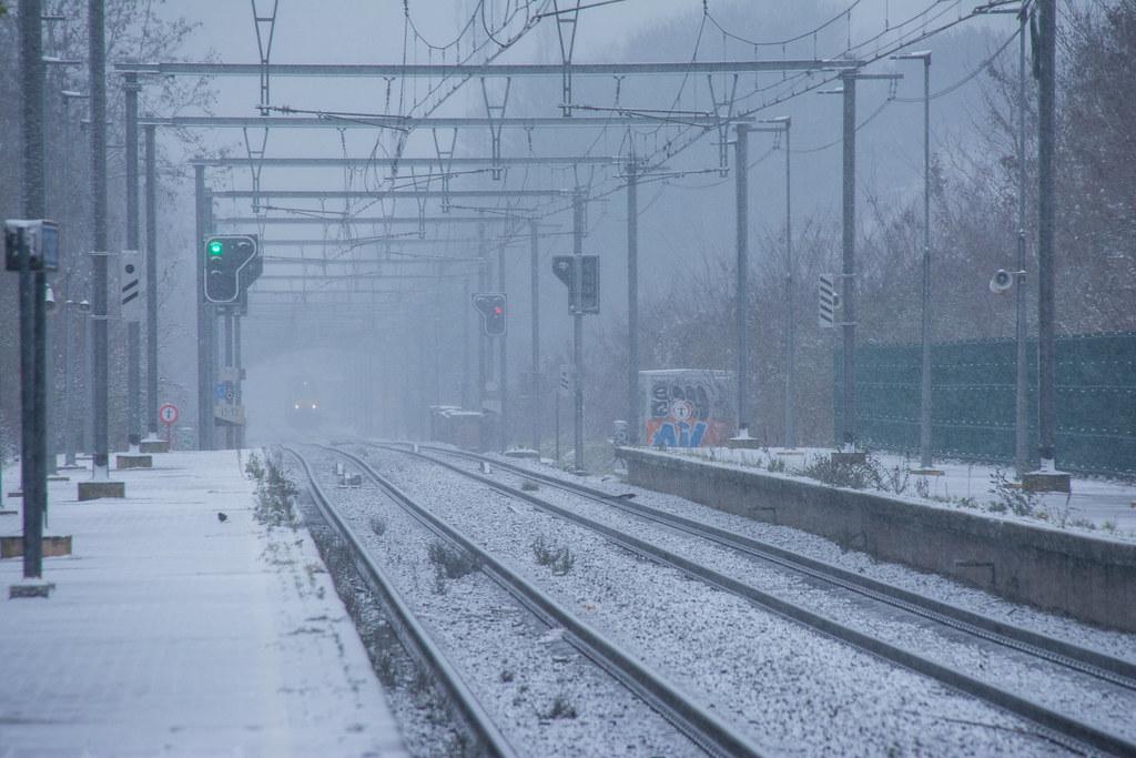 Snowing.