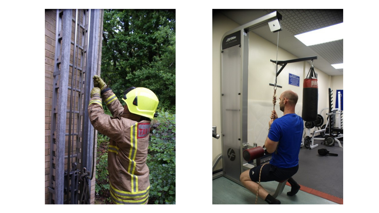 Man using rope in gym, and firefighter at work