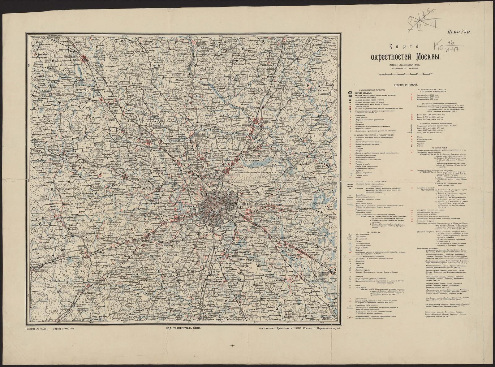 1927. Карта окрестностей Москвы