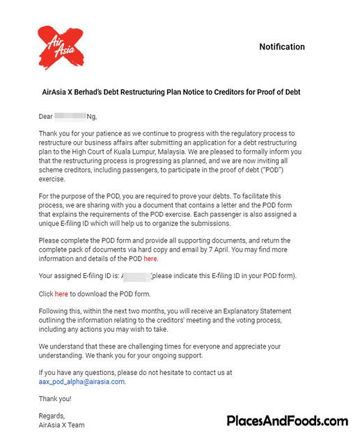 airasia x debt restructing notice