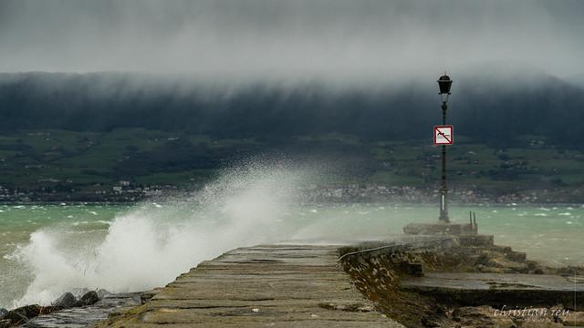 La tempête Luis au port d'Estavayer-le-Lac (Switzerland)