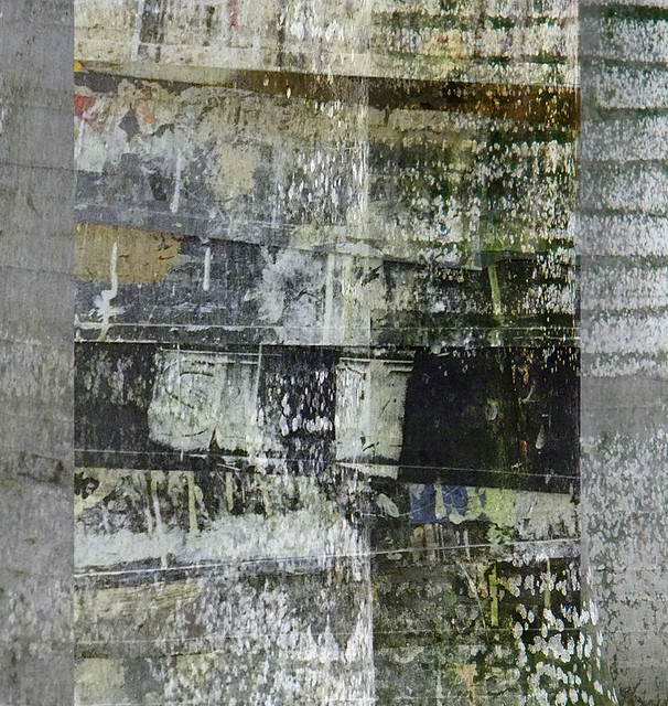 Palm bark in Singapore overlaid with an abstract of a stack of paint trays