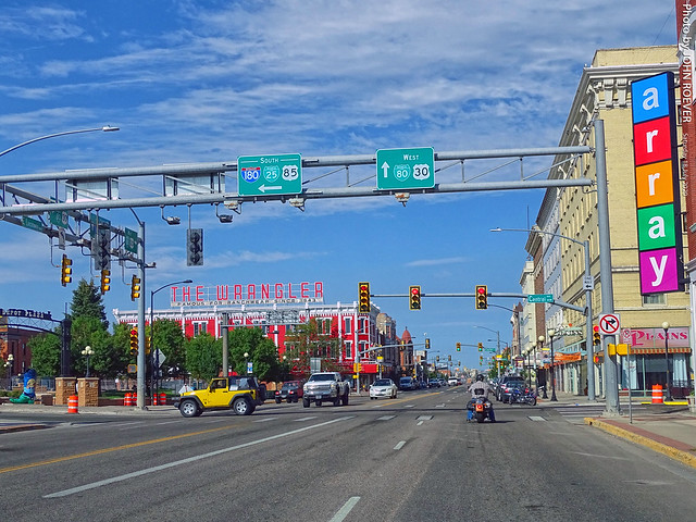 Central & Lincolnway in Downtown Cheyenne, 18 July 2020