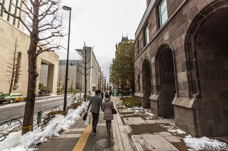 Arquitectura de Marunouchi bajo la nieve