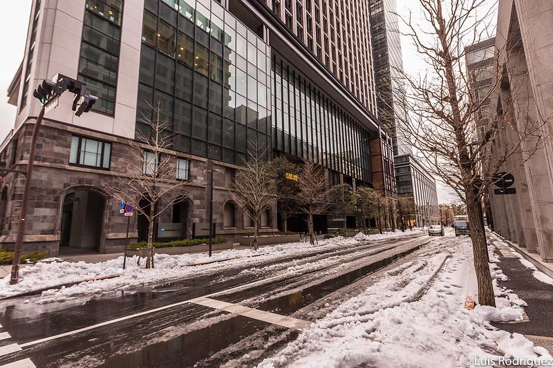 Calles de Marunouchi bajo la nieve