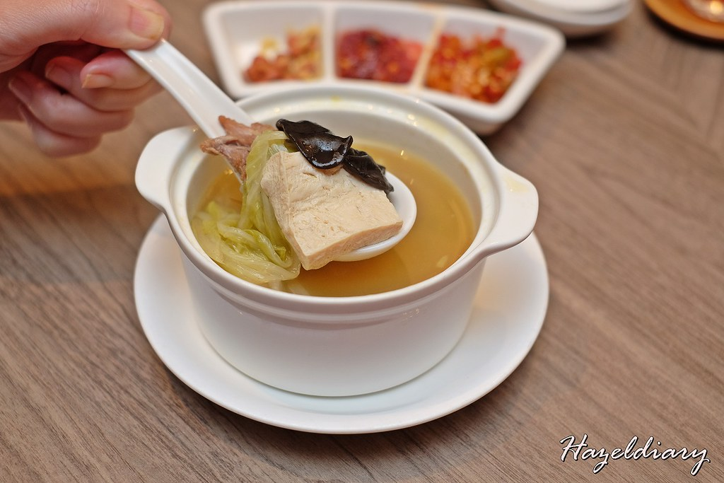 Si Chuan Dou Hua -Boiled Duck Soup with Preserved Chilli, Preserved Vegetables and White Cabbage