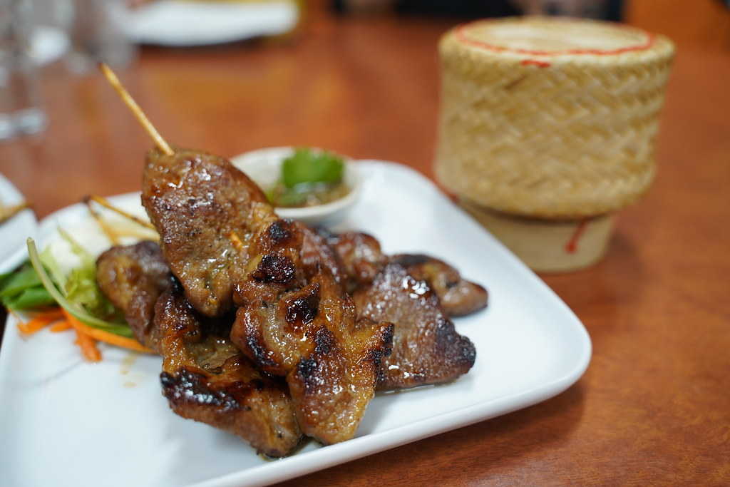 Moo ping grilled pork skewers AUD14.90, sticky rice AUD4 -… | Flickr
