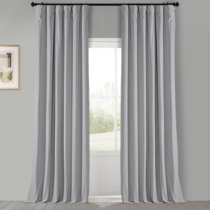 Draperie din catifea cu rejansa din bumbac tip fagure, Madison, 200x210 cm, densitate 700 g/mp, Light gray 0