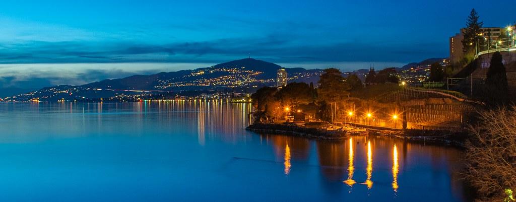Lake reflections on a calm night
