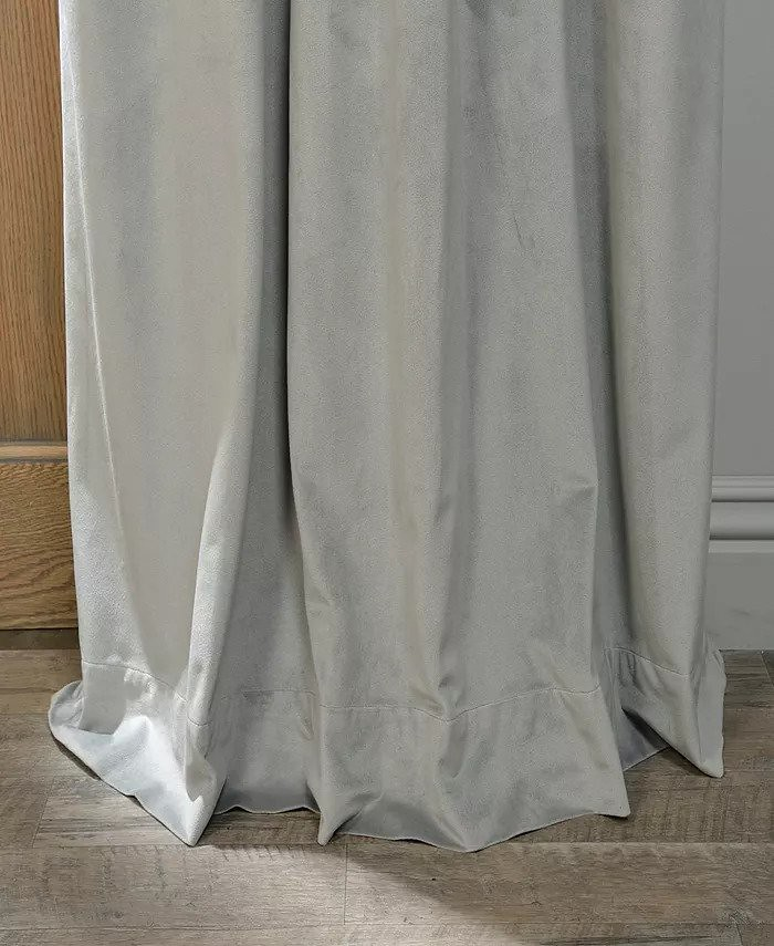 Set draperii din catifea cu rejansa din bumbac tip fagure, Madison, 150x210 cm, densitate 700 g/mp,  Cream gray, 2 buc 1