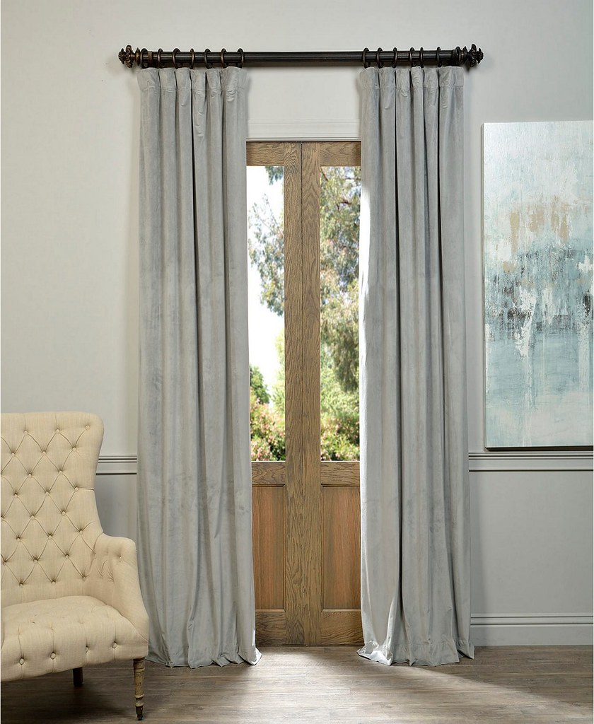 Set draperii din catifea cu rejansa din bumbac tip fagure, Madison, 150x210 cm, densitate 700 g/mp,  Cream gray, 2 buc 0