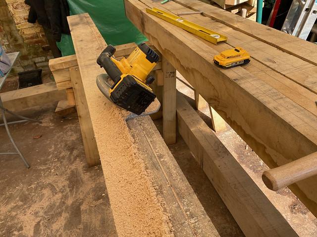 Cutting the first ridge beam bevel - 2
