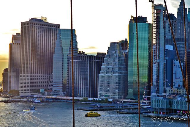 Lower Manhattan View at Sunset from Brooklyn Bridge New York City NY P00836 DSC_1372