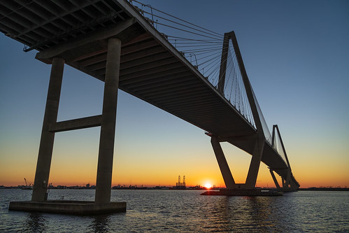 bridge sunset river water suspension